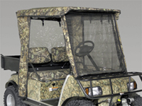 Customize your golf car with camo cowls, skins, enclosures, seat covers, custom seats, gun rack